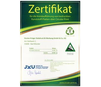 Zertifikat Kreislaufführung