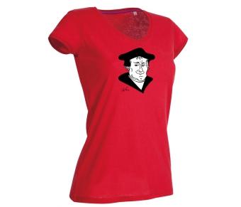 Women V-Neck Shirt Luther crimson red