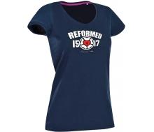 T-Shirt mit V-Ausschnitt Lutherrose