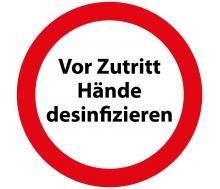 Aufkleber Vor Zutritt Hände desinfizieren